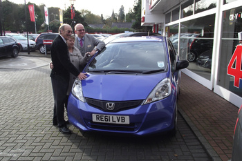 Woking Hospice raffle winner collects his brand new Jazz