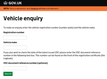 New Government Vehicle Enquiry Service
